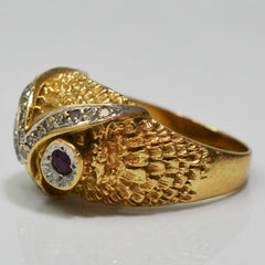 Diamond & Ruby Owl Ring | 0.16 ctw, SZ 8.75 |