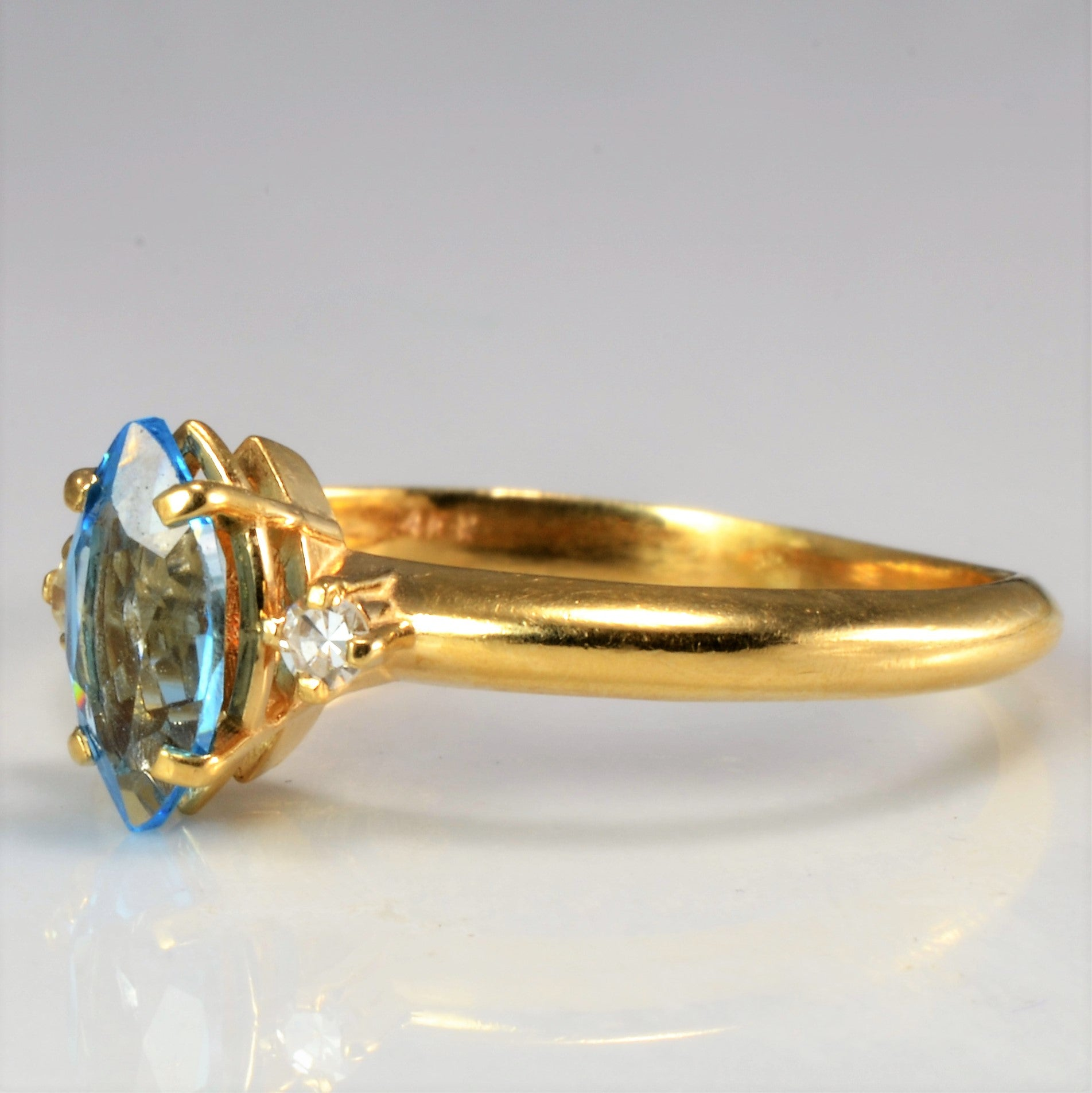 Three Stone Topaz & Diamond Ring | 0.05 ctw, SZ 7.25 |