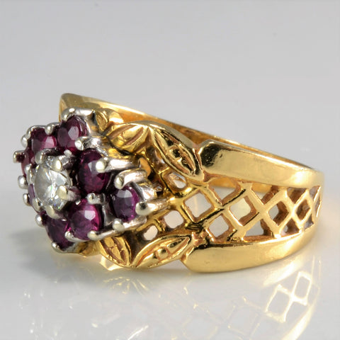 Floral Inspired Diamond & Ruby Patterned Ring | 0.17 ct, SZ 5.5 |