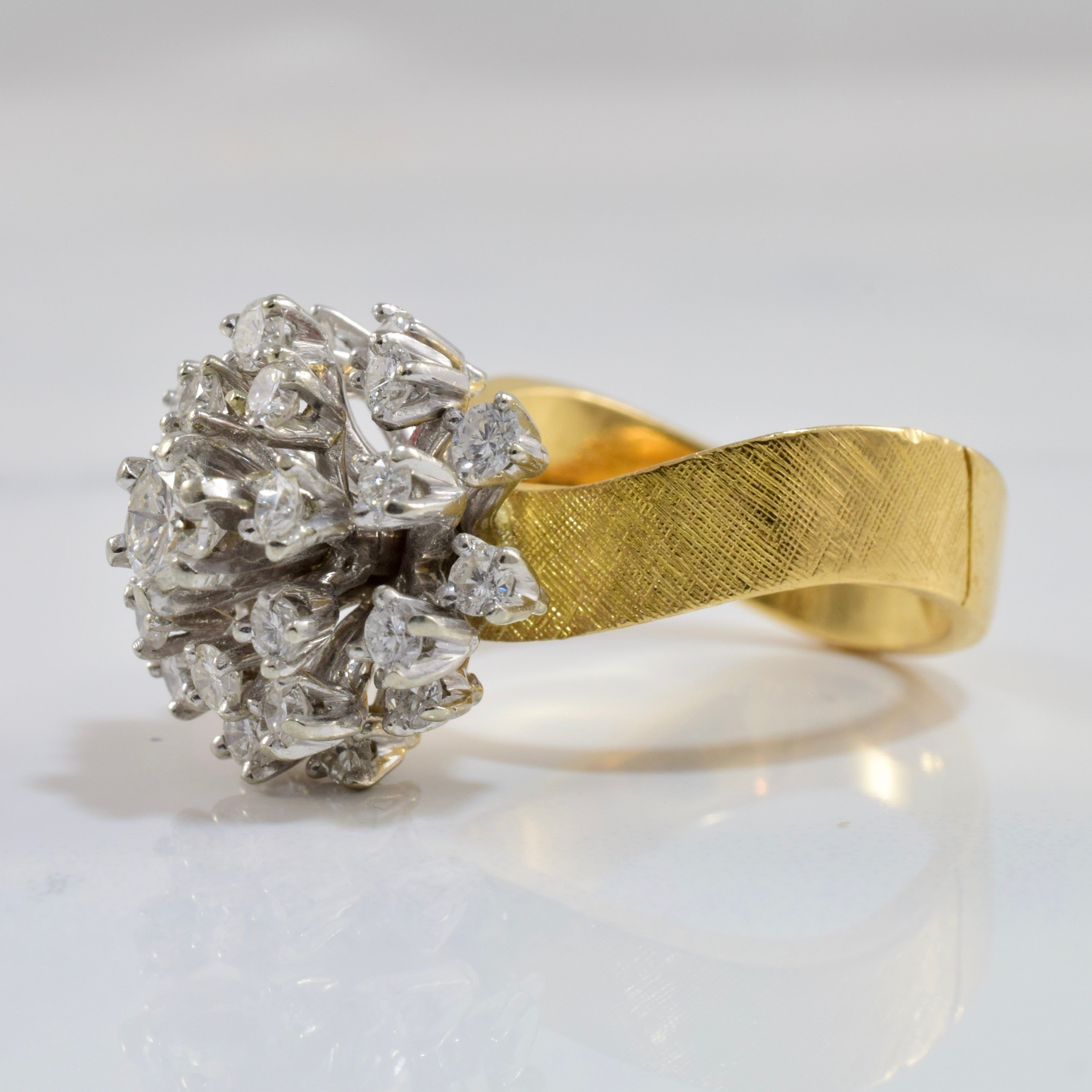 High Set Diamond Cocktail Cluster Ring | 1.55 ctw SZ 5.75 |