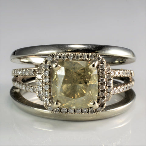 19K Fancy Green Diamond & Pave Accents Engagement Ring | 2.45 ctw, SZ 6 |