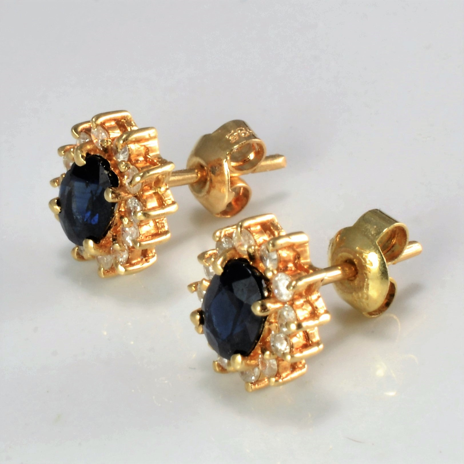 Sapphire & Diamond Stud Earrings | 0.25 ctw |