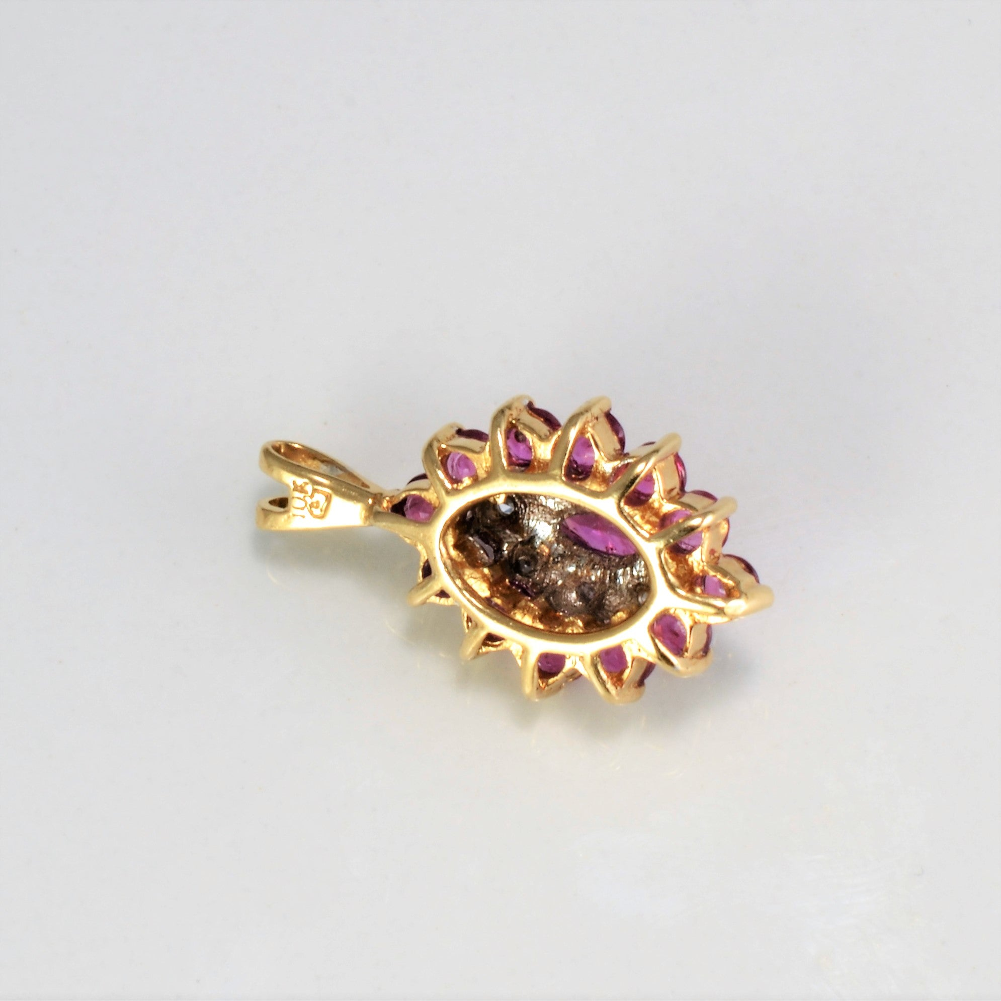Cluster Diamond & Ruby Pendant | 0.04 ctw |