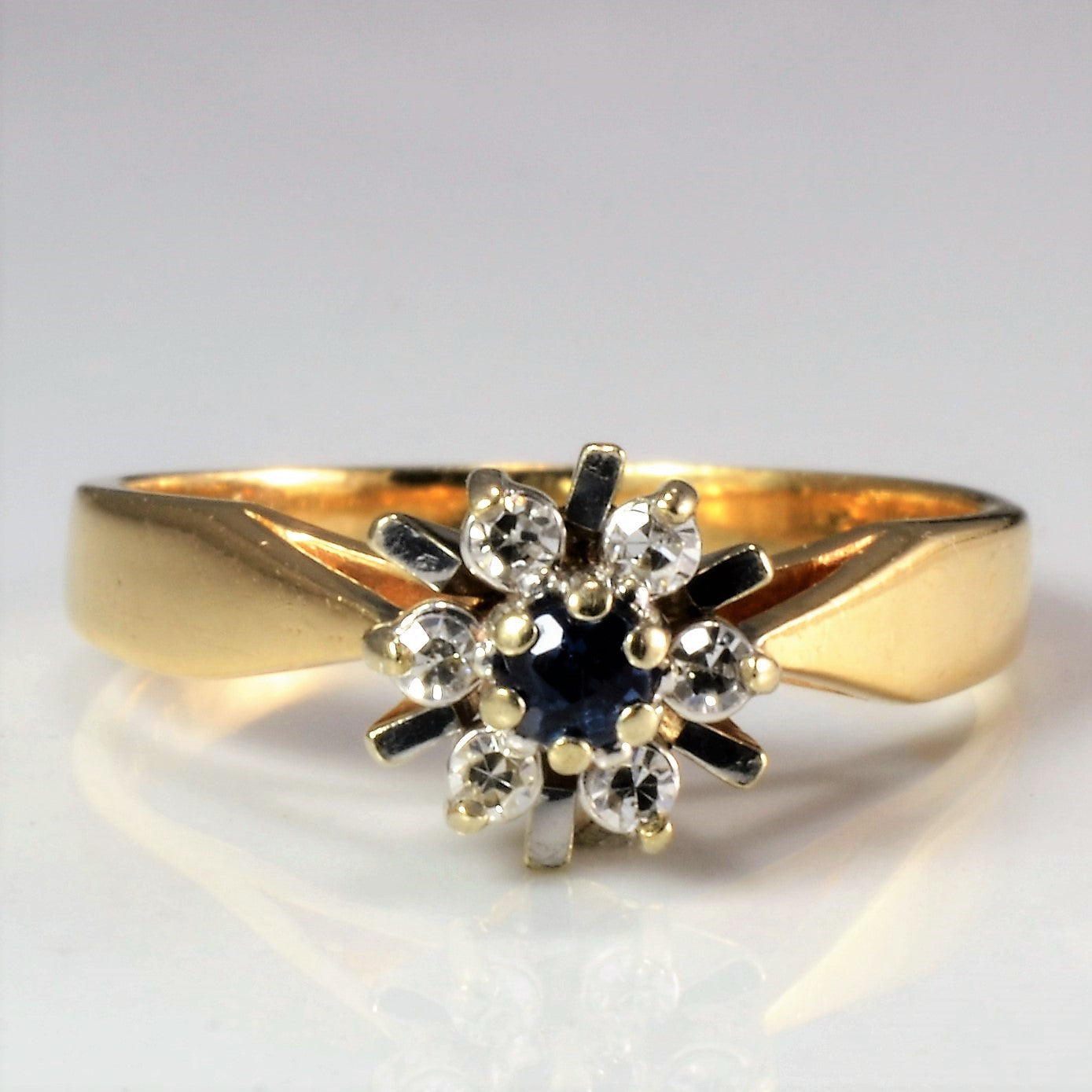 Flower Diamond & Sapphire High Set Ring | 0.06 ctw, SZ 4.5 |