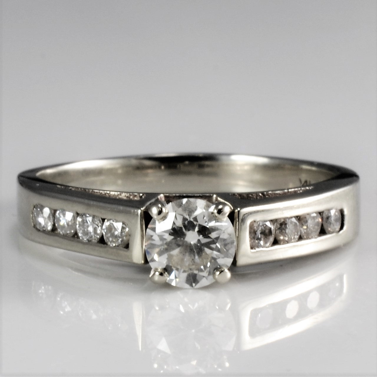 Diamond Channel Accented Engagement Ring | 0.60 ctw, SZ 6.5 |