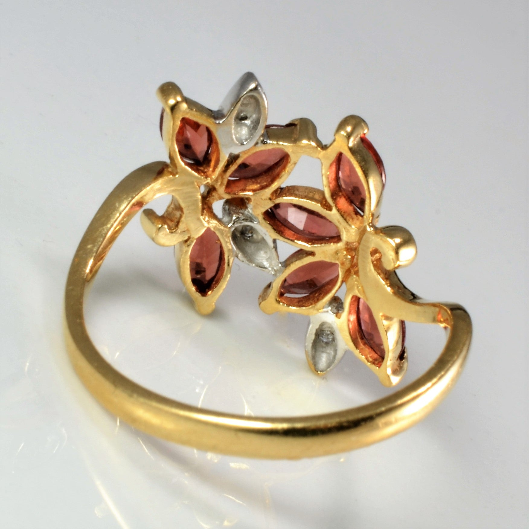 Floral Inspired Bypass Garnet & Diamond Ladies Ring | 0.02 ctw, SZ 5.75 |