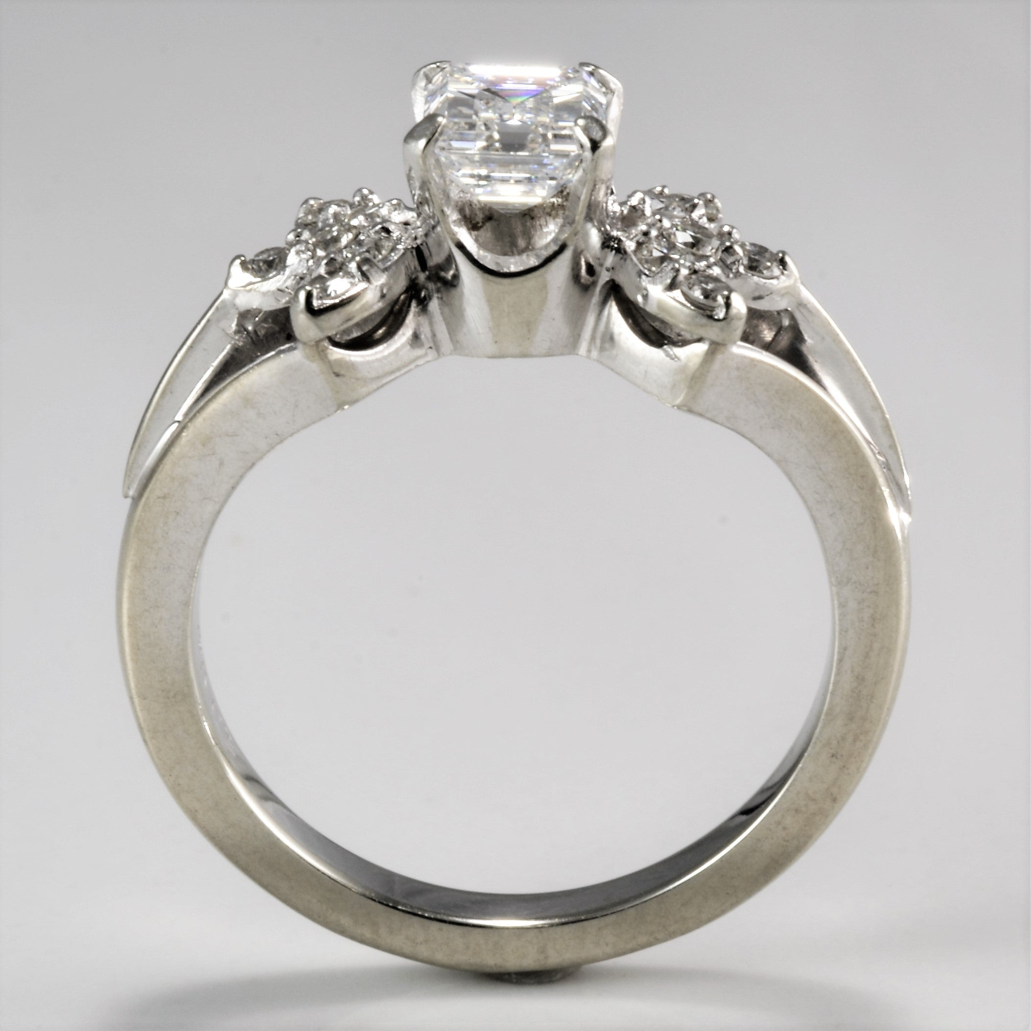Floral Inspired Emerald Cut Engagement Ring | 0.82 ctw, SZ 6.5 |
