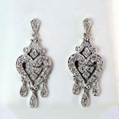 Milgrain Detailed Diamond Chandelier Earrings | 0.15 ctw |