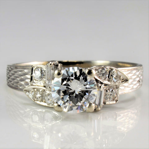 Platinum Detailed High Set Diamond Engagement Ring | 0.81 ctw, SZ 5.5 |