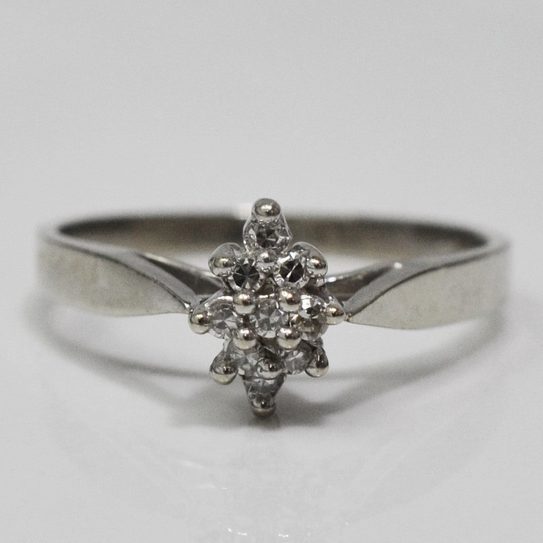 Marquise Shaped Tapered Cluster Ring | 0.05 ctw, SZ 5.25 |