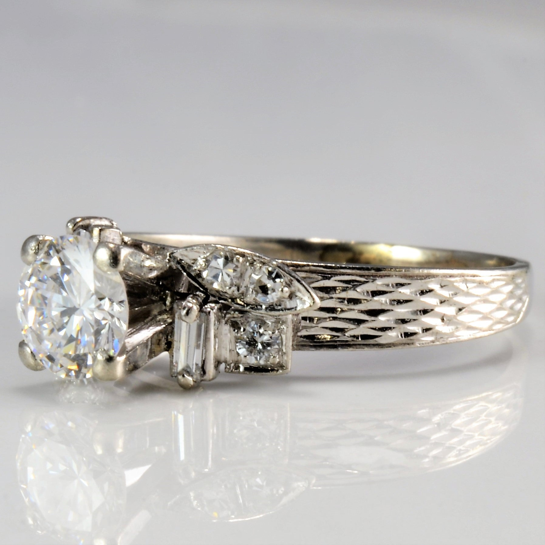 Platinum Retro High Set Diamond Engagement Ring | 0.81 ctw | SZ 5.5 |