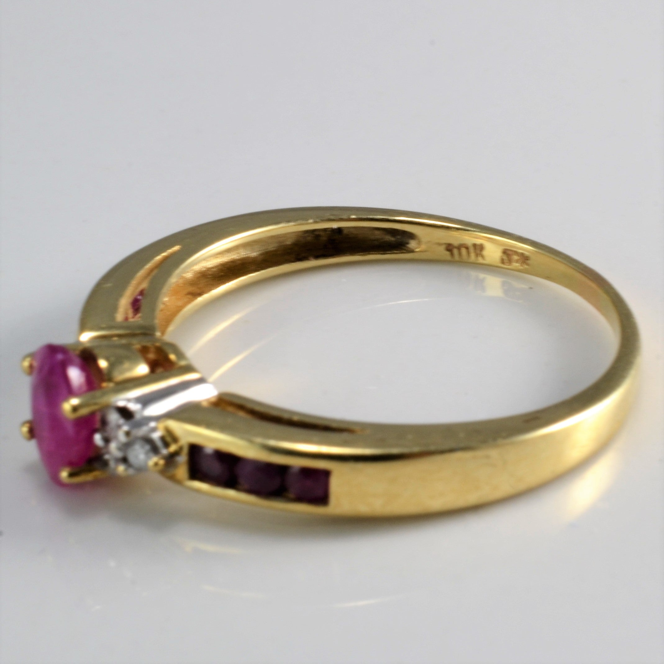 Channel Ruby & Diamond Ladies Ring | 0.06 ctw, SZ 8 |