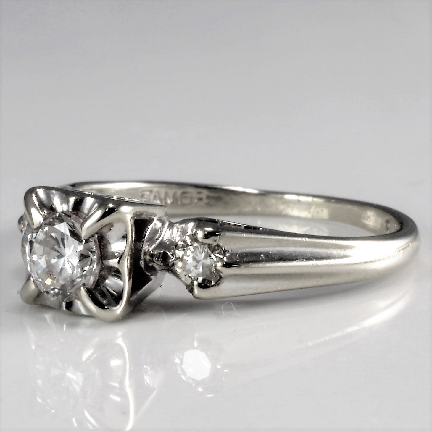 Three Stone Retro Era Engagement Ring | 0.35 ctw, SZ 5 |