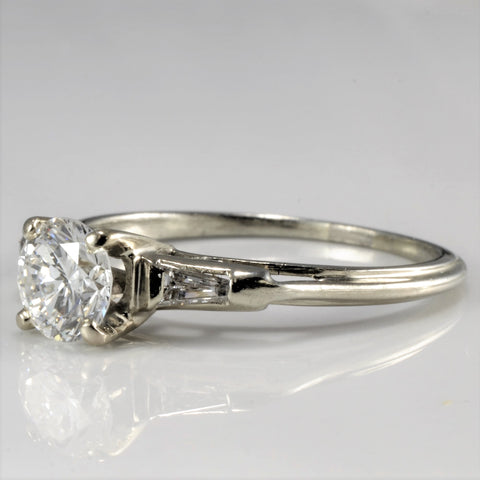 Tapered Baguette Accented Engagement Ring | 0.82 ctw, SZ 7.75 |