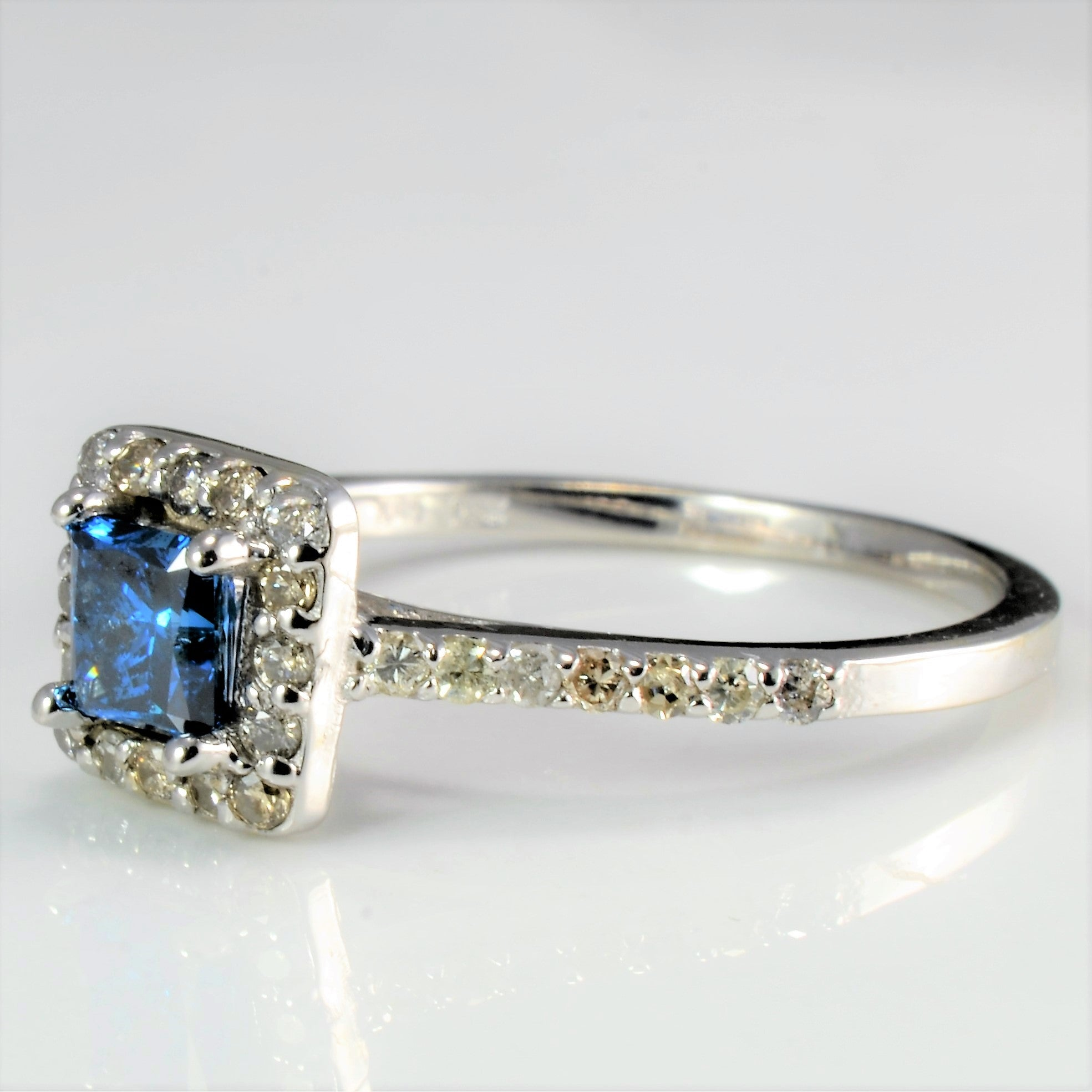 Halo Blue Diamond Ladies Engagement Ring | 0.72 ctw, SZ 6.25 |