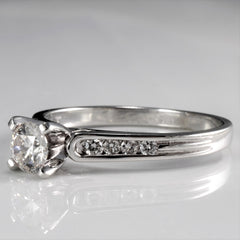 Solitaire Diamond & Channel Accents Engagement Ring | 0.50 ctw, SZ 6.5 |