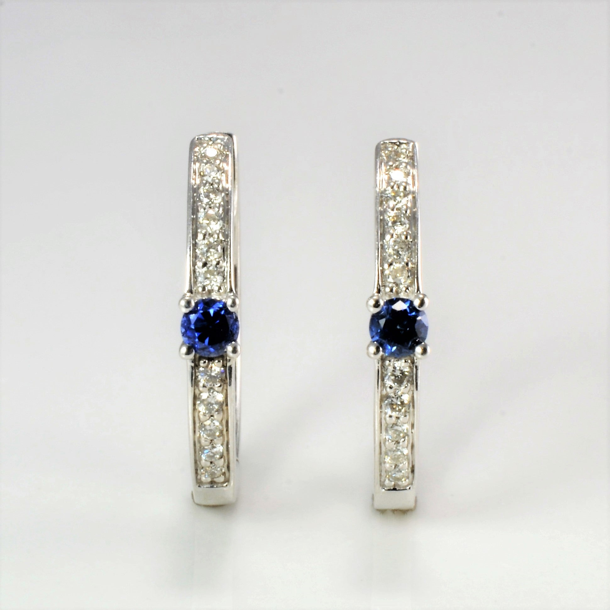 Diamond & Sapphire Huggie Earrings | 0.11 ctw |