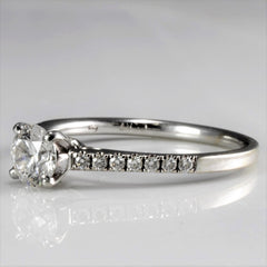 Solitaire Diamond with Pave Accents Engagement Ring | 0.61 ctw, SZ 6.5 |