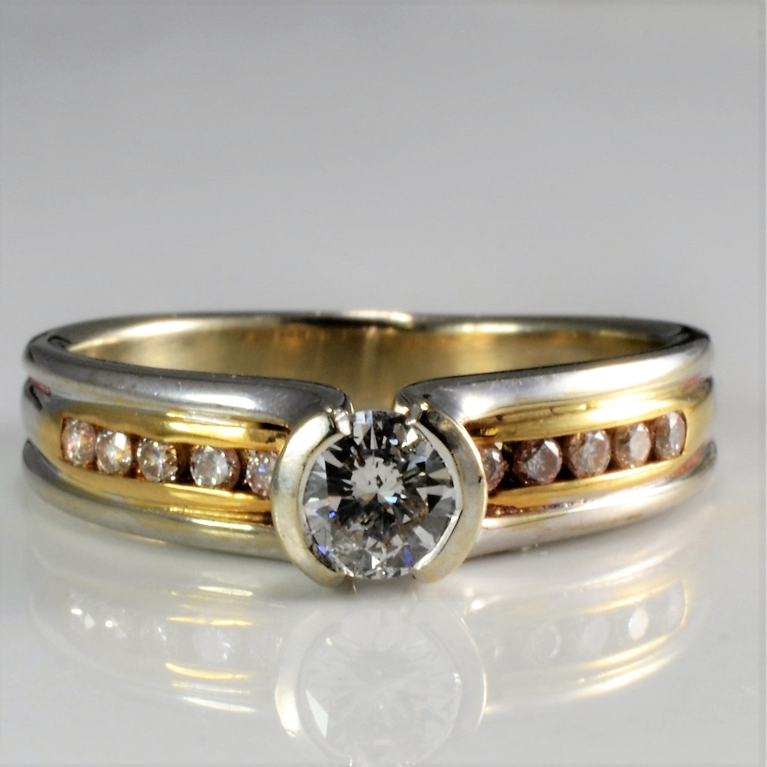 Two Tone Gold Channel Diamond Engagement Ring | 0.50 ctw, SZ 6.25 |