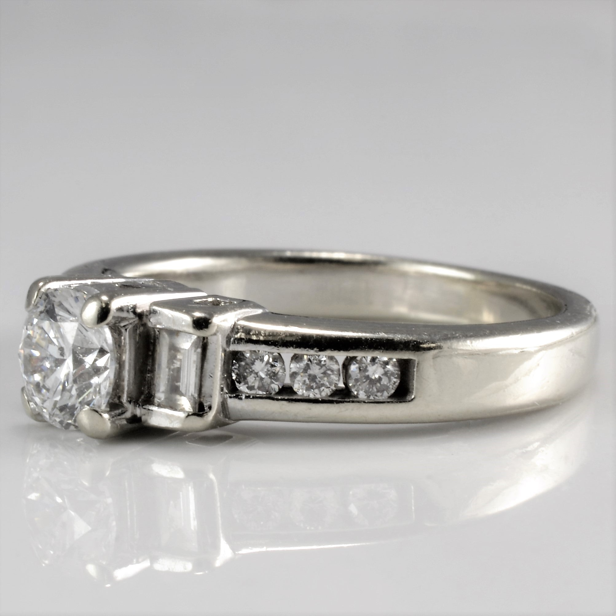 Baguette Accented Engagement Ring | 0.53 ctw, SZ 4.25 |