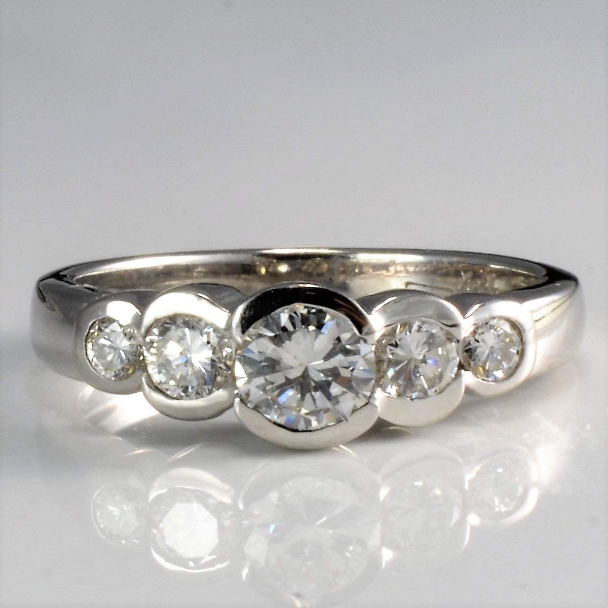 Five Stone Semi Bezel Set Diamond Engagement Ring | 0.65 ctw, SZ 5.75 |