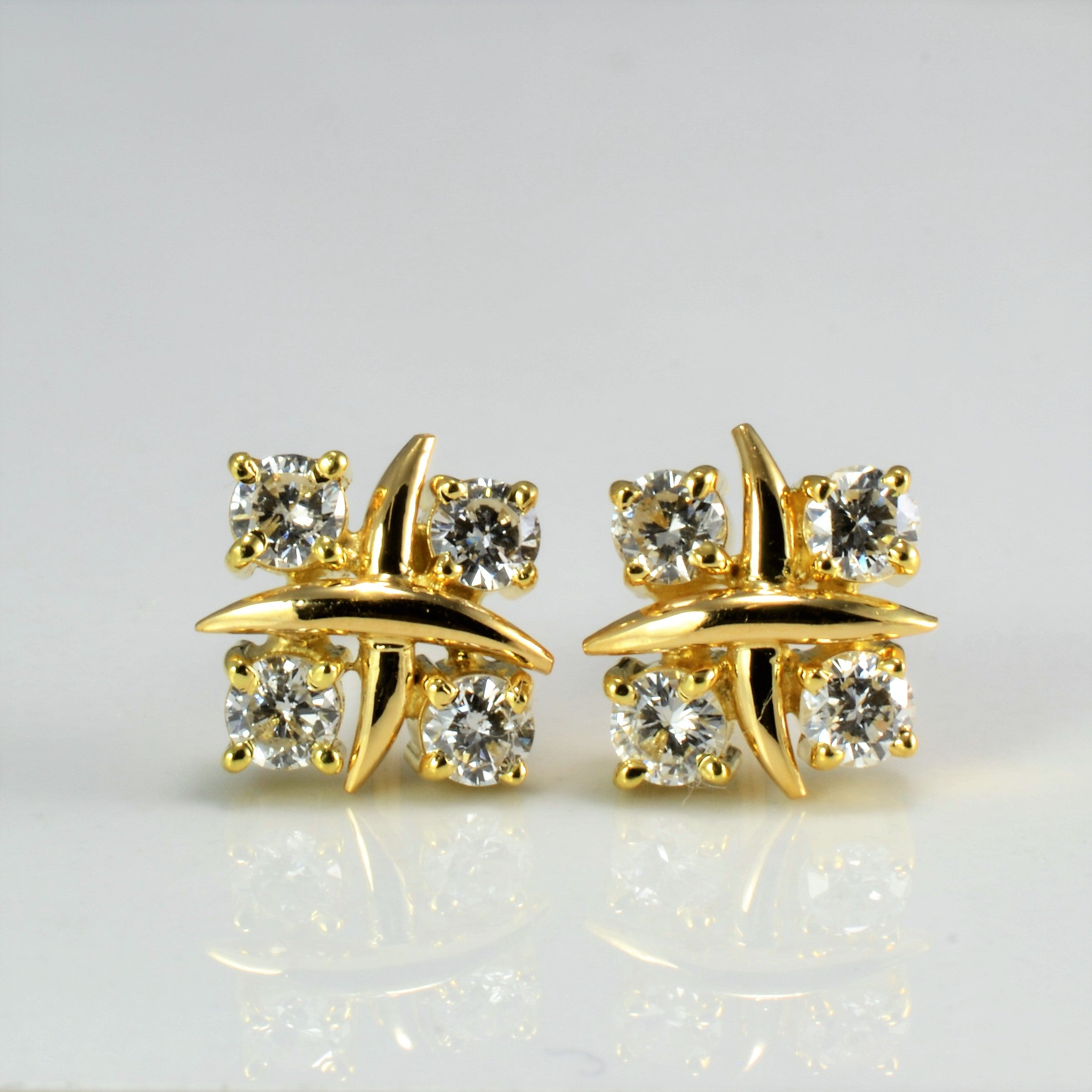 Four Stone Diamond Stud Earrings | 0.48 ctw |