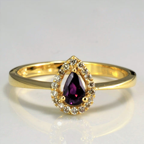 Delicate Pear Cut Ruby Halo Ring | 0.10ctw, 0.20ct | SZ 7 |