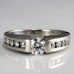 Tapered Solitaire Diamond with Channel Accents Engagement Ring | 0.80 ctw, SZ 5.5 |