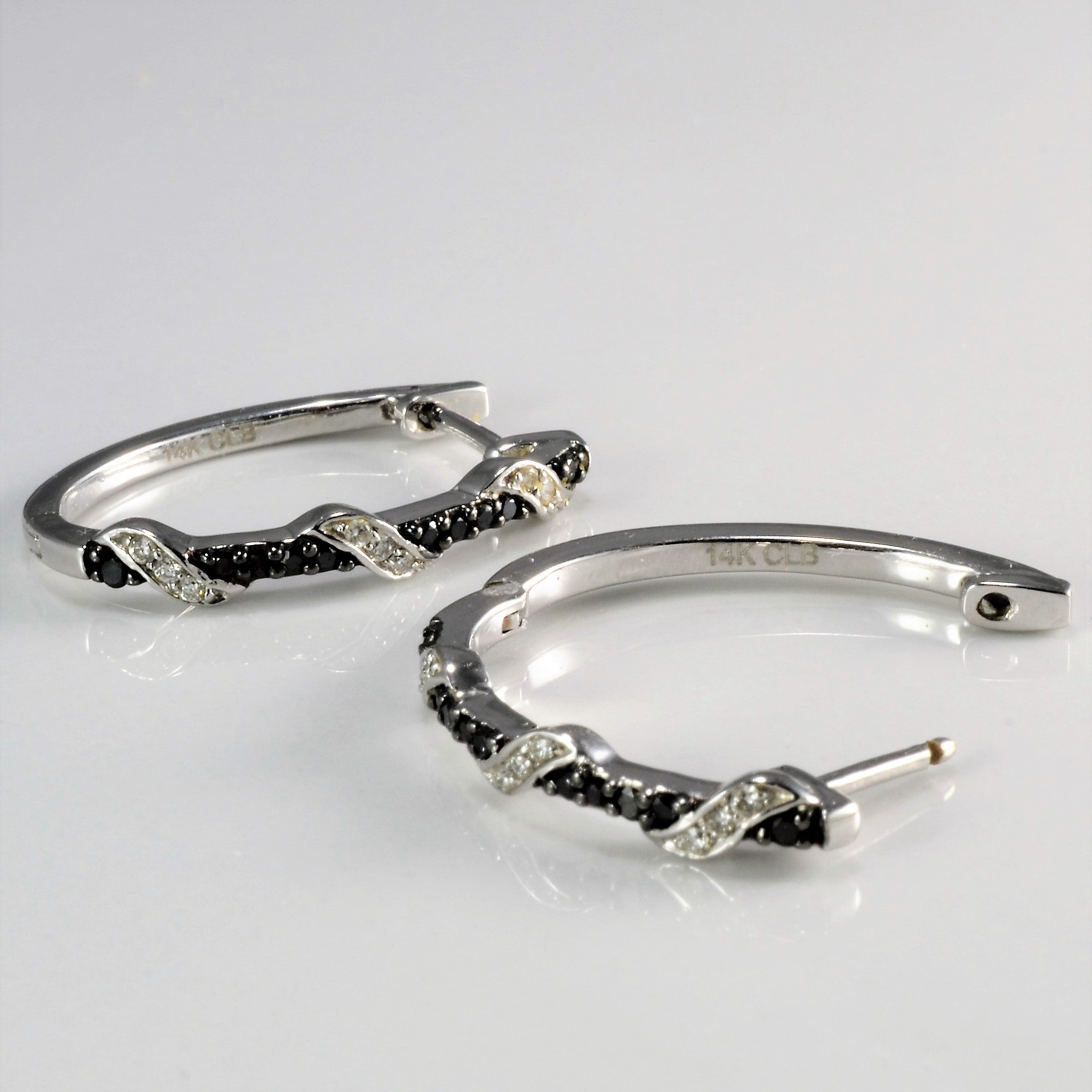 Pave Set Black & White Diamond Hoop Earrings | 0.25 ctw |