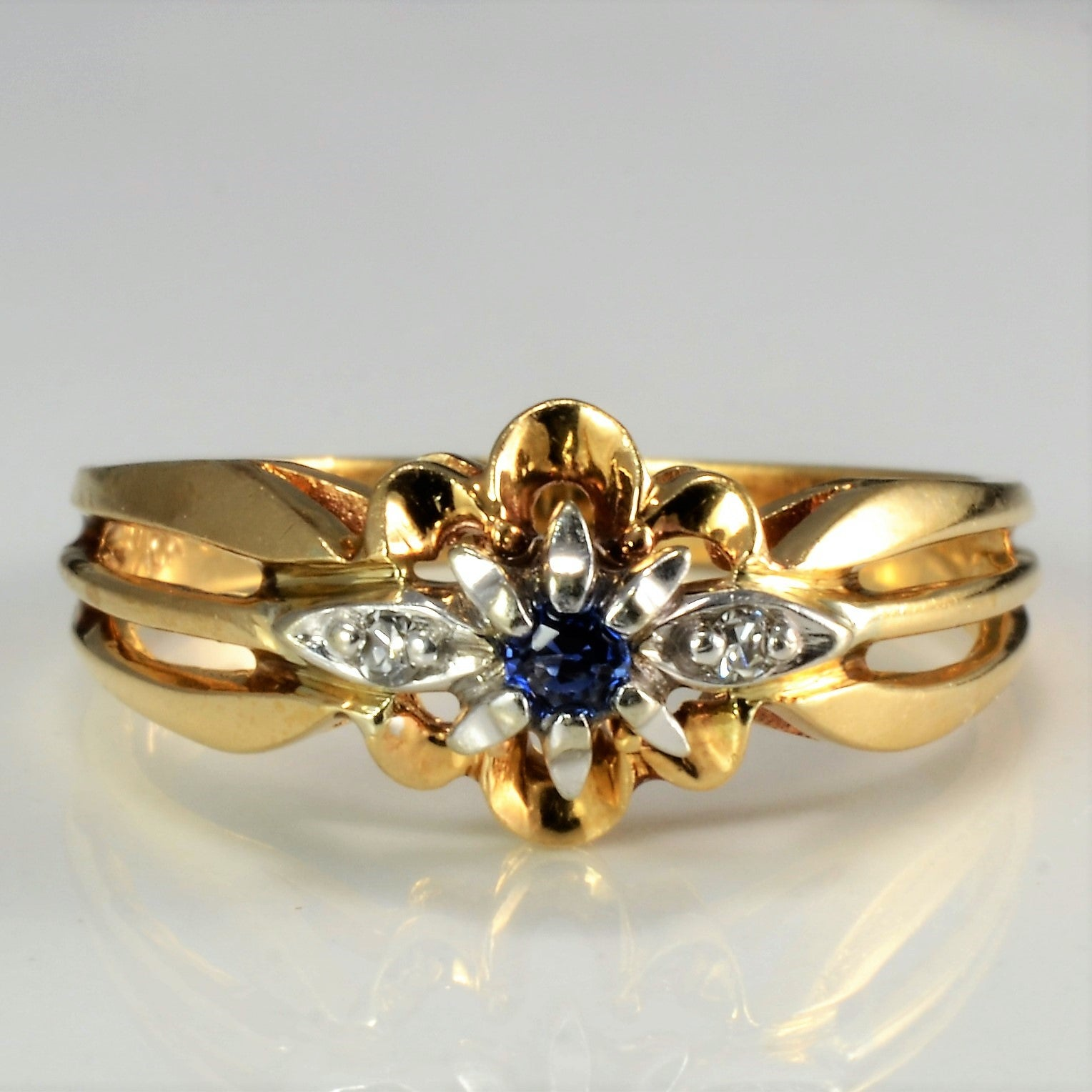 Floral Inspired Sapphire & Diamond Ring | 0.02 ctw, SZ 6.25 |