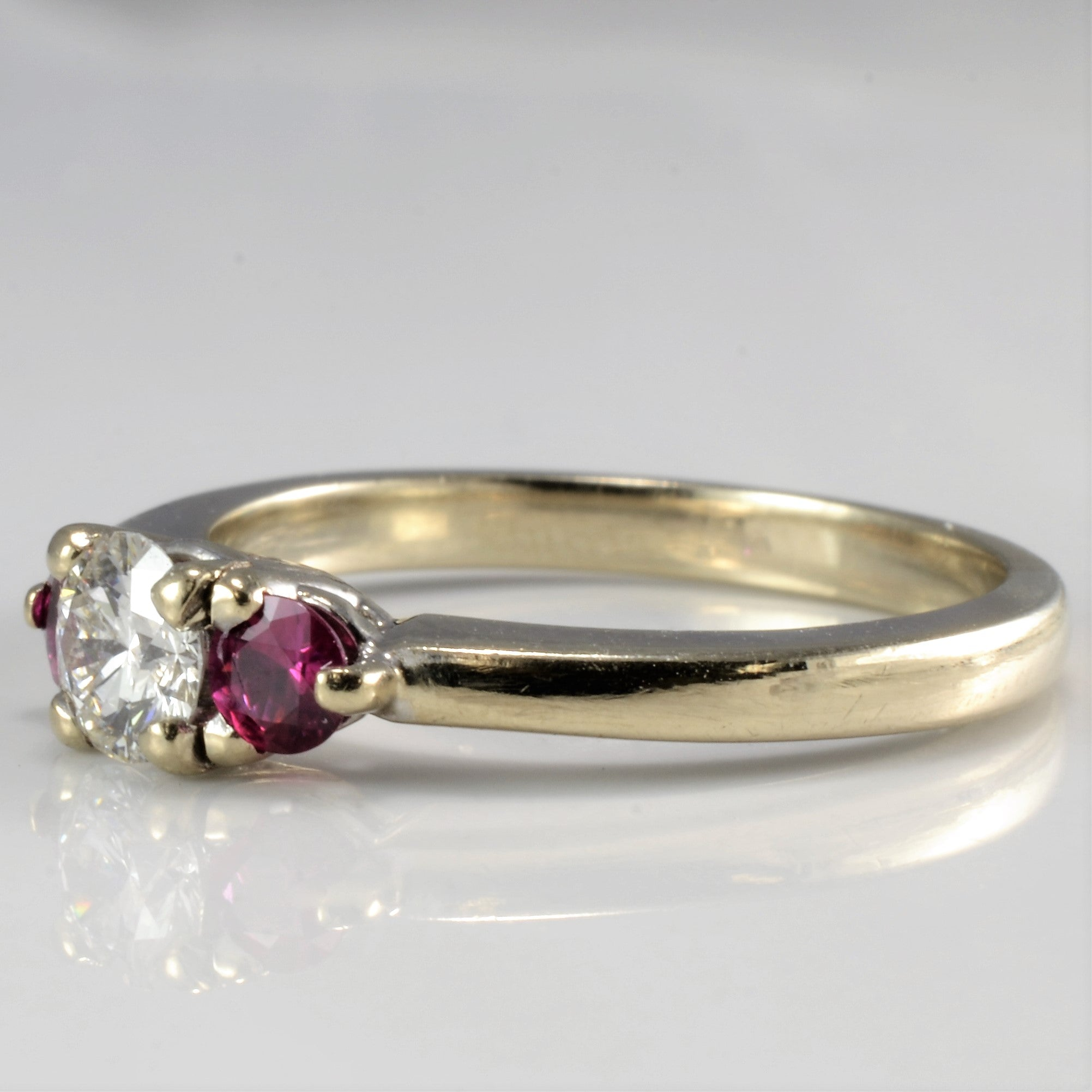 Three Stone Diamond & Ruby Ring | 0.33 ct, SZ 5.75 |