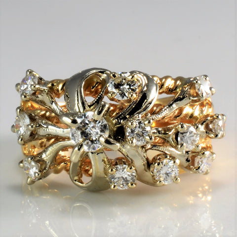 Floral Inspired Diamond Braided Wide Ring | 0.80 ctw, SZ 5.75 |