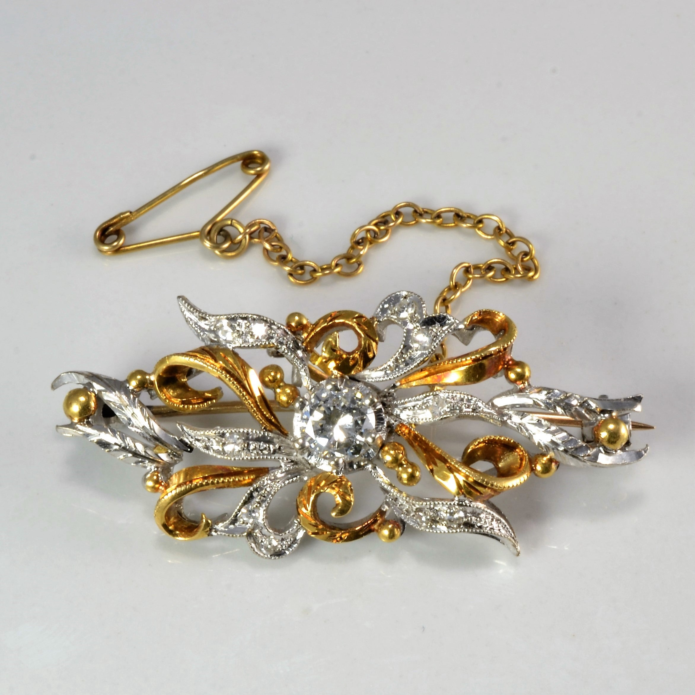 Two Tone Gold Vintage Diamond Brooch | 0.45 ctw |