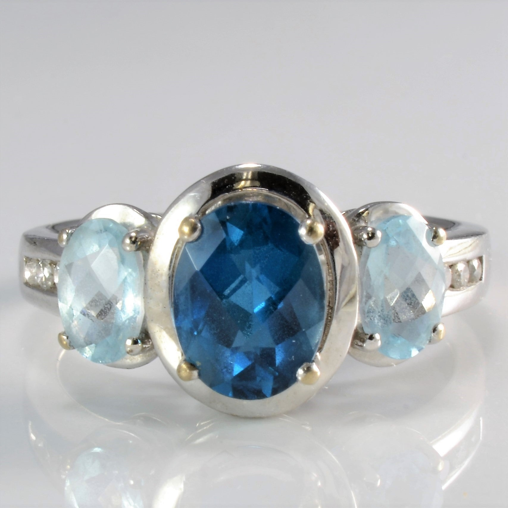 Beautiful Topaz & Diamond Amoro Ring+Earrings Set | 0.06 ctw, SZ 7.5 |