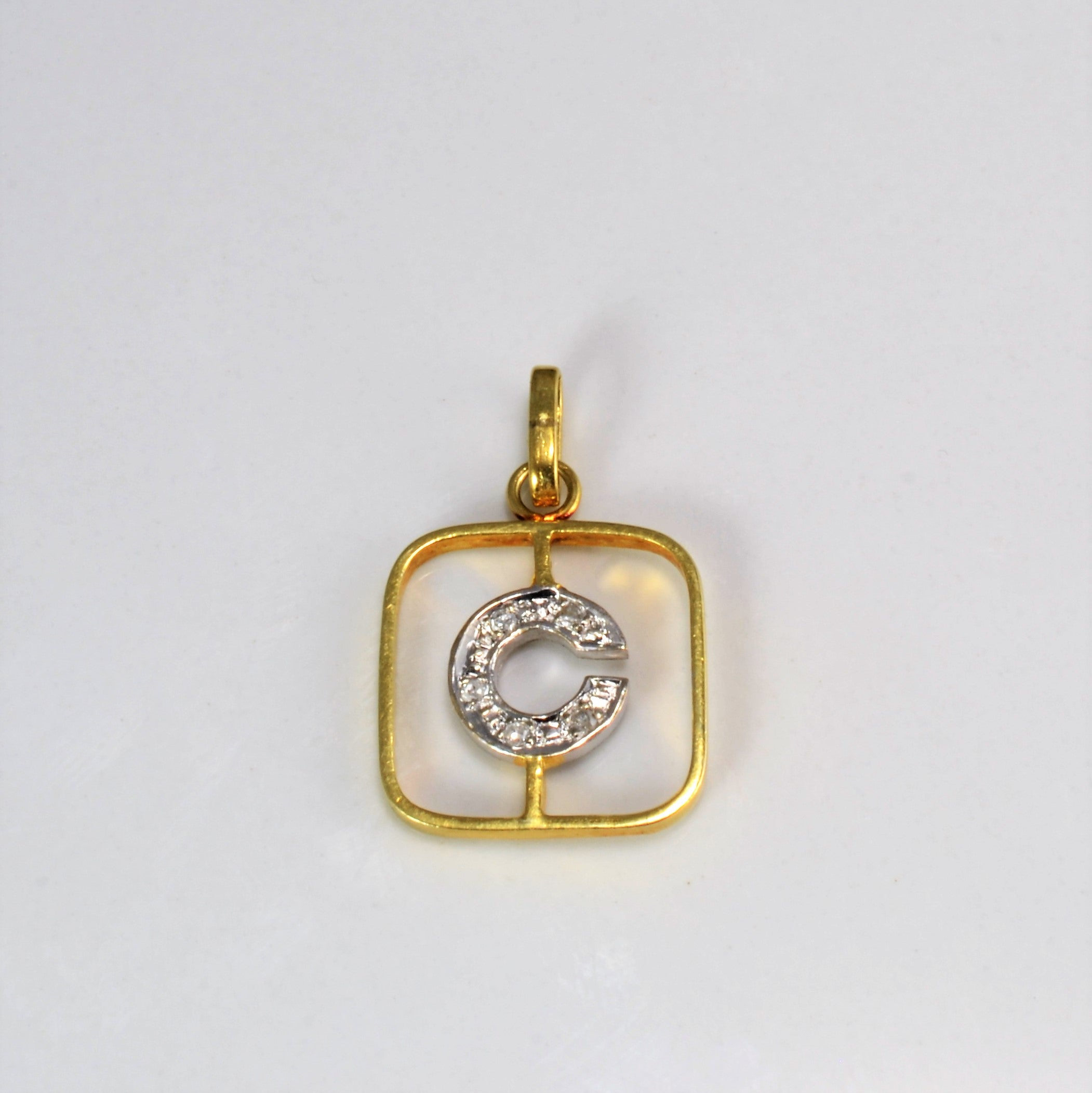 Diamond C Letter Two Tone Gold Pendant | 0.02 ctw |
