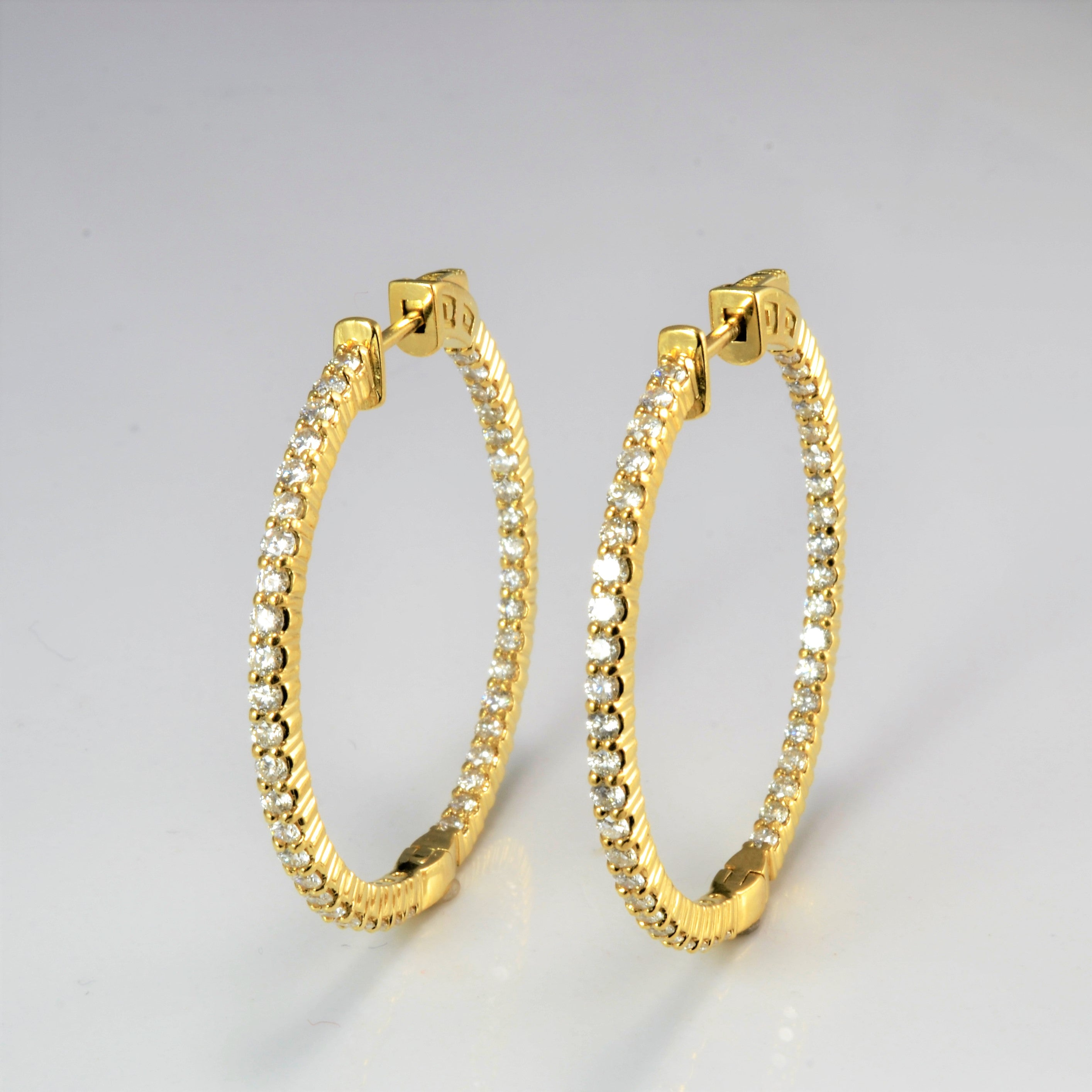 Pave Set Double Side Diamond Hoop Earrings | 1.72 ctw |