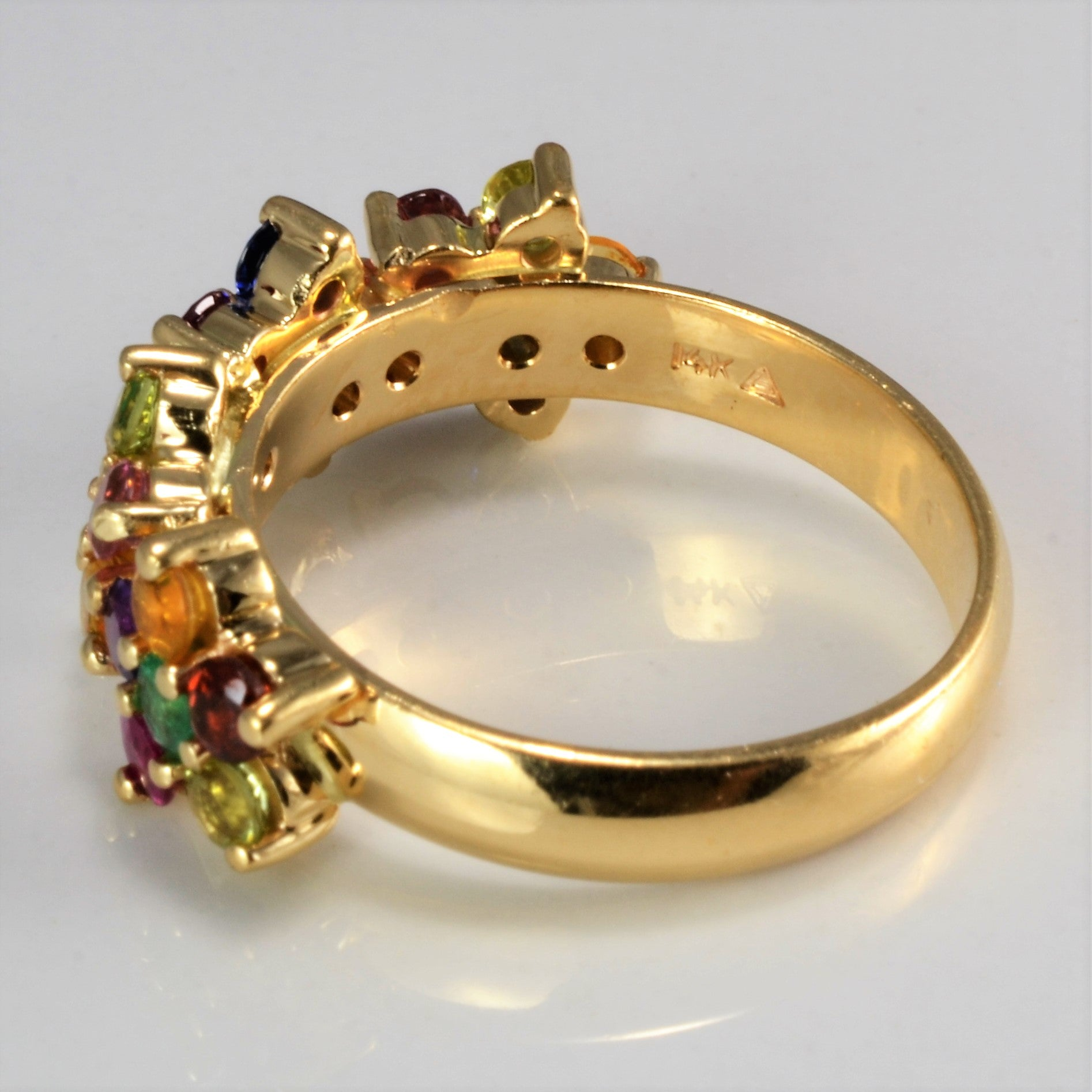 Multi Gemstones & Diamond Cluster Ladies Ring | 0.12 ctw, SZ 7.75 |