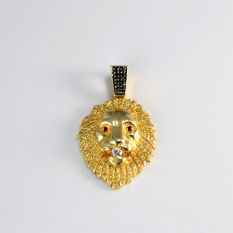Detailed Diamond & Ruby Lion Face Pendant | 0.50 ctw |