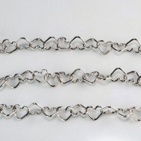 14K White Gold Heart Link Chain Anklet | 9.5''|