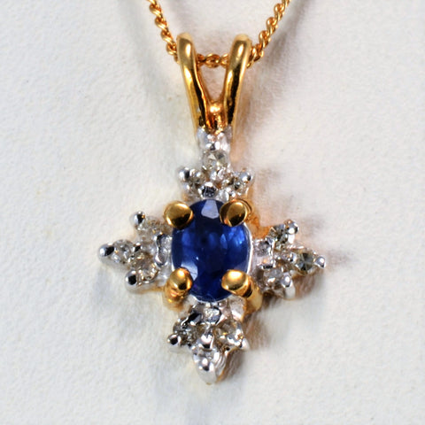 Sapphire & Diamond Cocktail Pendant Necklace | 0.06 ctw, 18''|