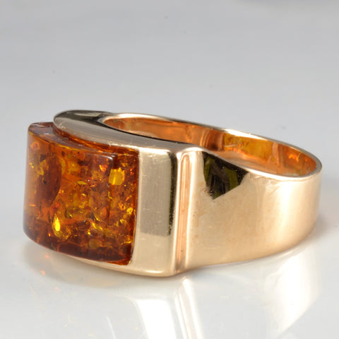 Amber Wide Gold Ring | SZ 6.75 |