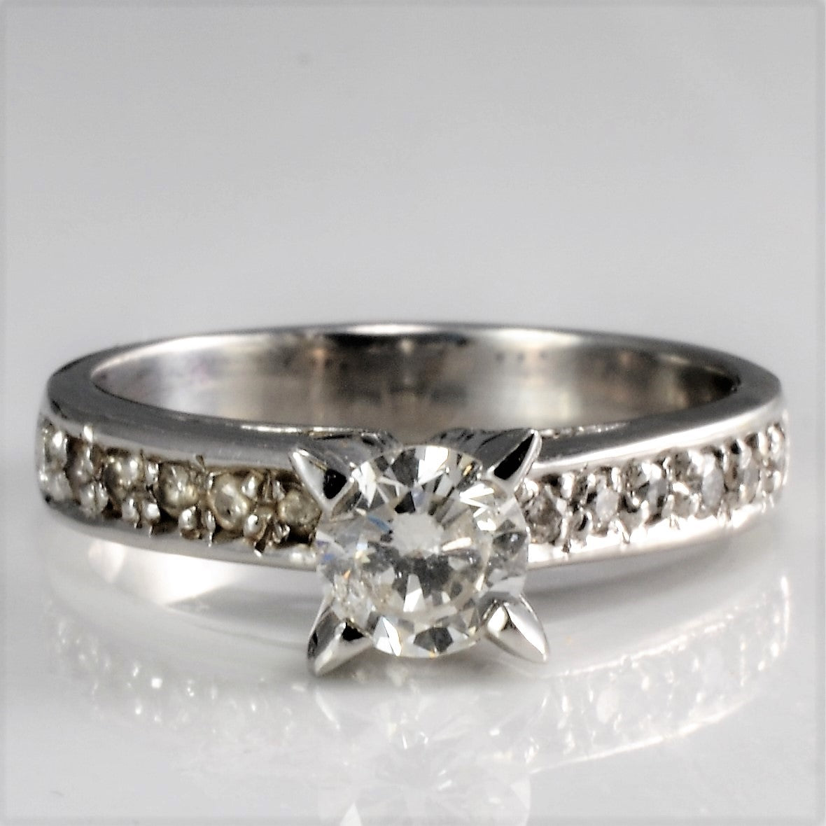Prong Set Solitaire & Accents Diamond Engagement Ring | 0.48 ctw, SZ 4.5 |
