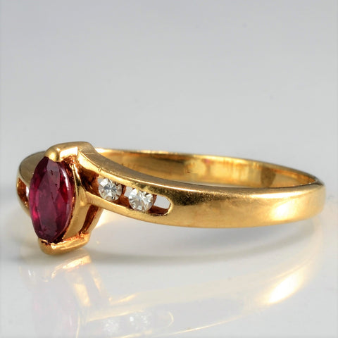 Bypass Ruby & Diamond Petite Ring | 0.04 ctw, SZ 4.25 |