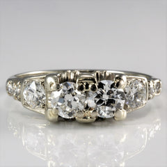 Art Deco Diamond Duo Engagement Ring | 0.88 ctw, SZ 6.75 |