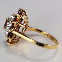 Cluster Ruby & Diamond Cocktail Ring | 0.04 ctw, SZ 6 |