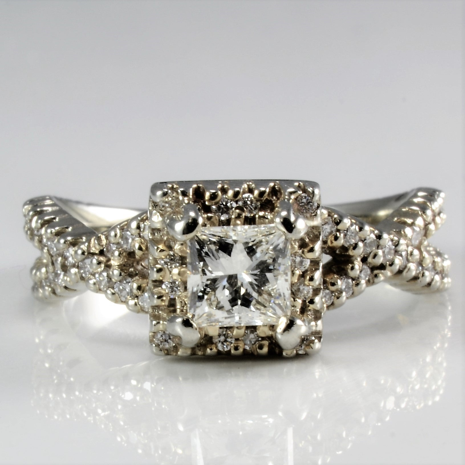 Princess Diamond Crossover Engagement Ring | 1.00 ctw, SZ 5.75 |