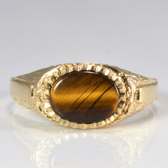 Bezel Set Tiger Eye Ring | SZ 6.5 |
