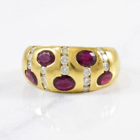 Flush Set Diamond & Ruby Band | 0.30ctw, 1.00ctw | SZ 6 |