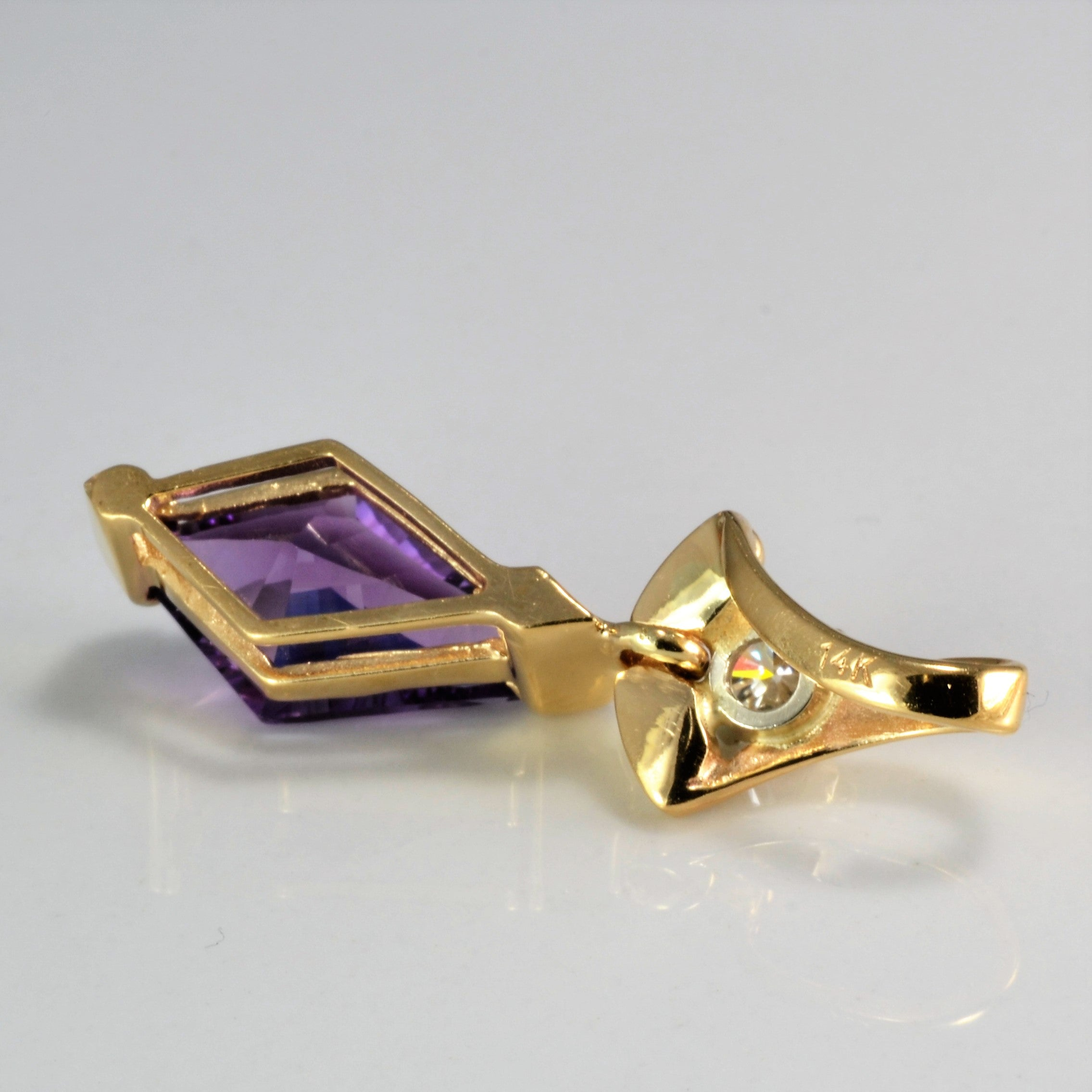 Amethyst & Diamond Ladies Drop Pendant | 0.25 ct |