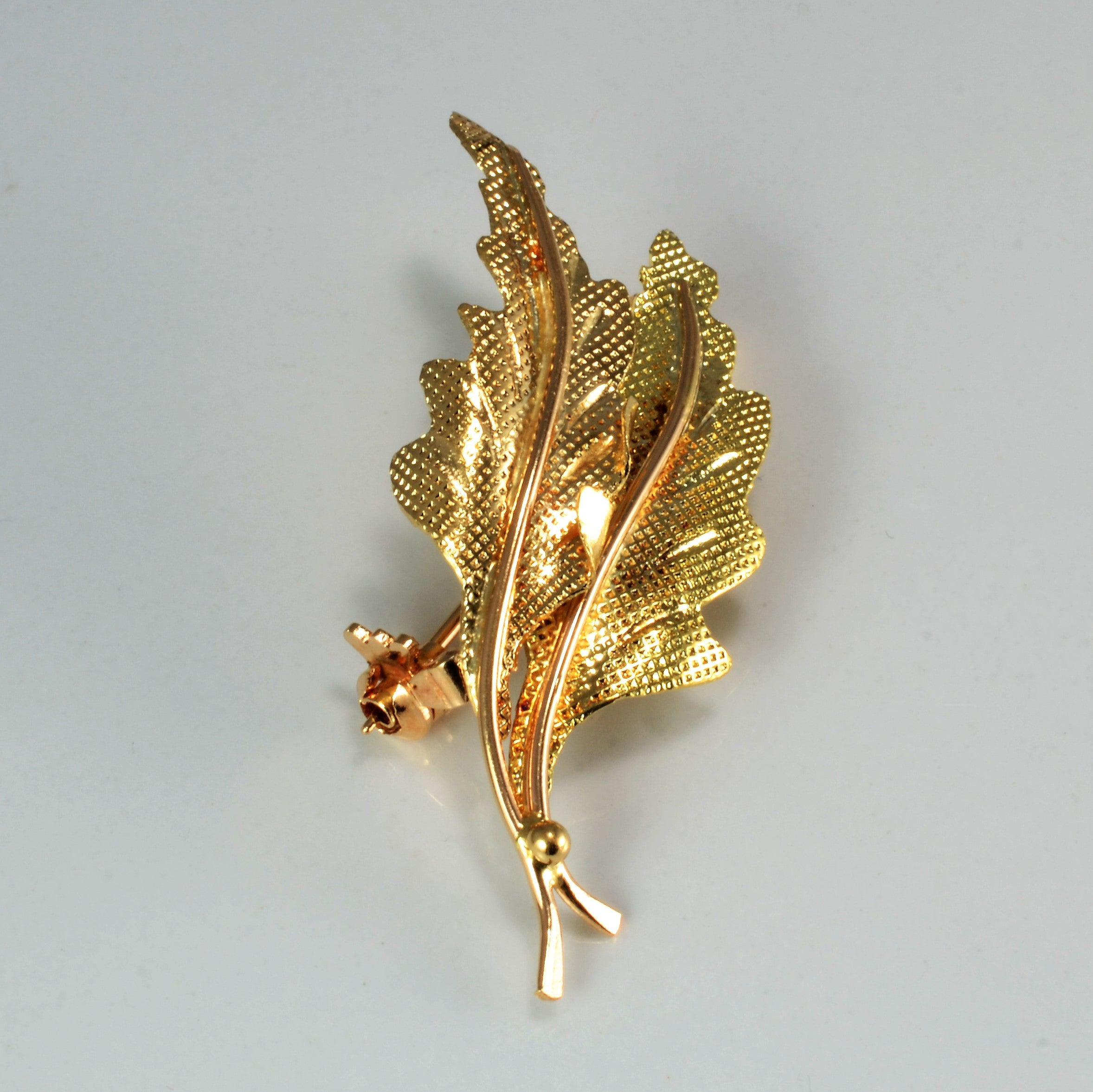 Brushed Texture Leaf Brooch